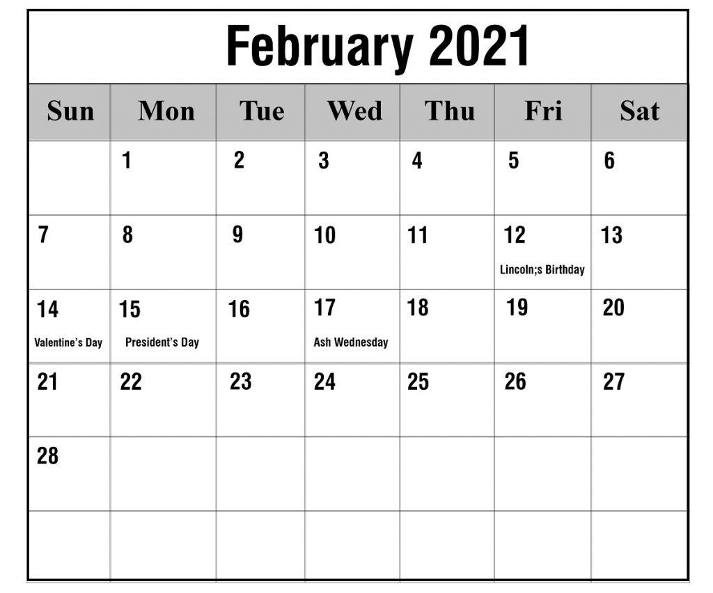 Free February 2021 Printable Calendar Template In Pdf