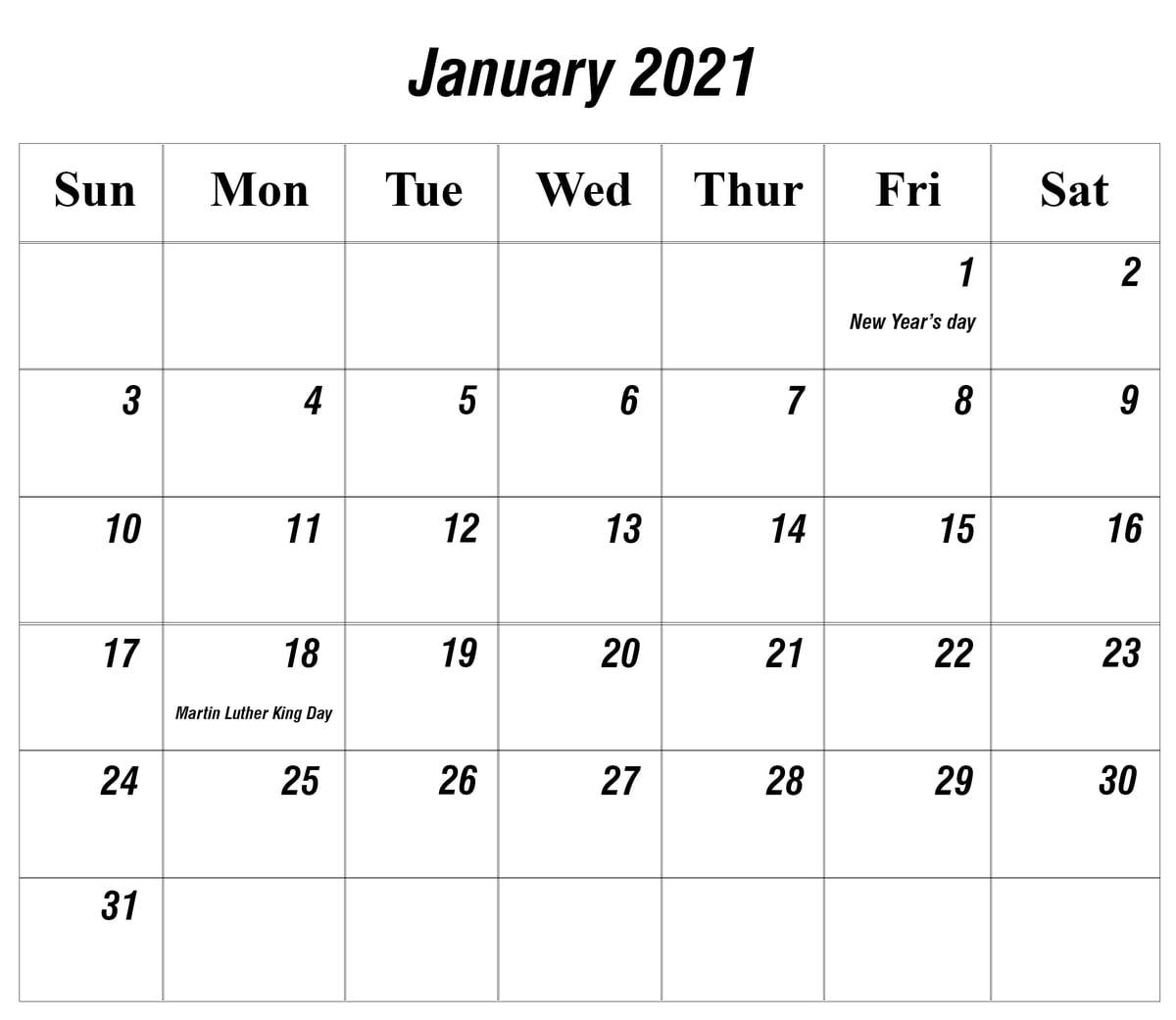 Free January 2021 Printable Calendar Template In Pdf