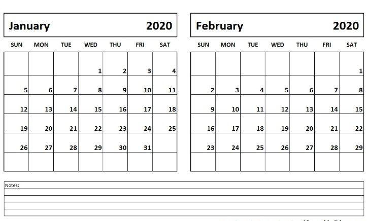Free January February 2020 Calendar Printable | Calendar