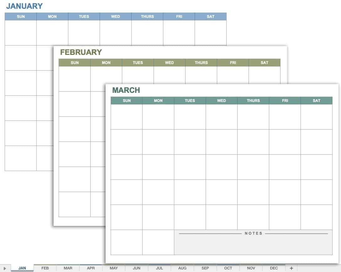 Free Monthly Spreadsheet Templates – Template Calendar Design