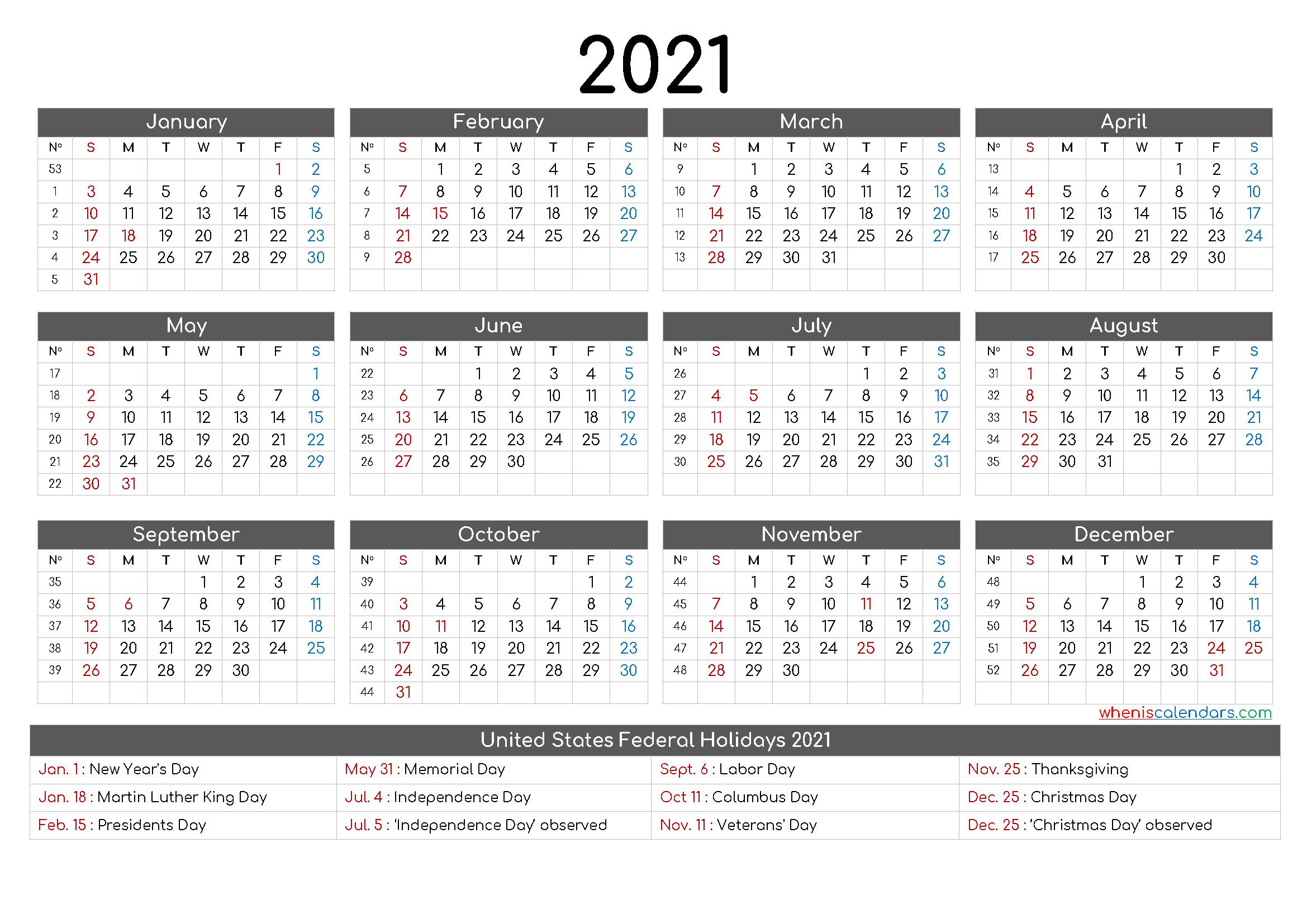 Free Printable 12 Month Calendar 2021 – 12 Templates