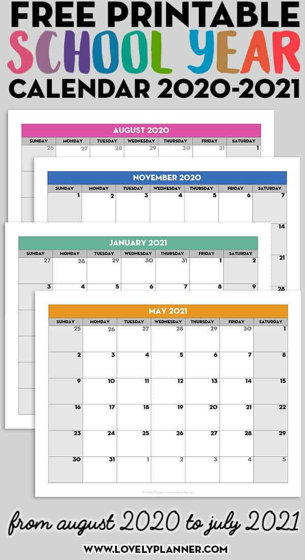 Free Printable 2020-2021 Monthly School Calendar Template