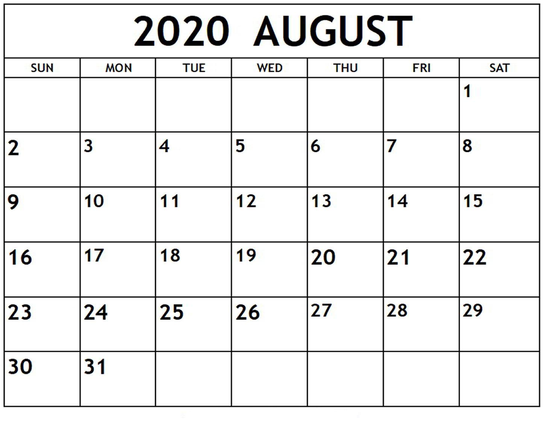 Free Printable 2020 Calendars Large Numbers | Calendar