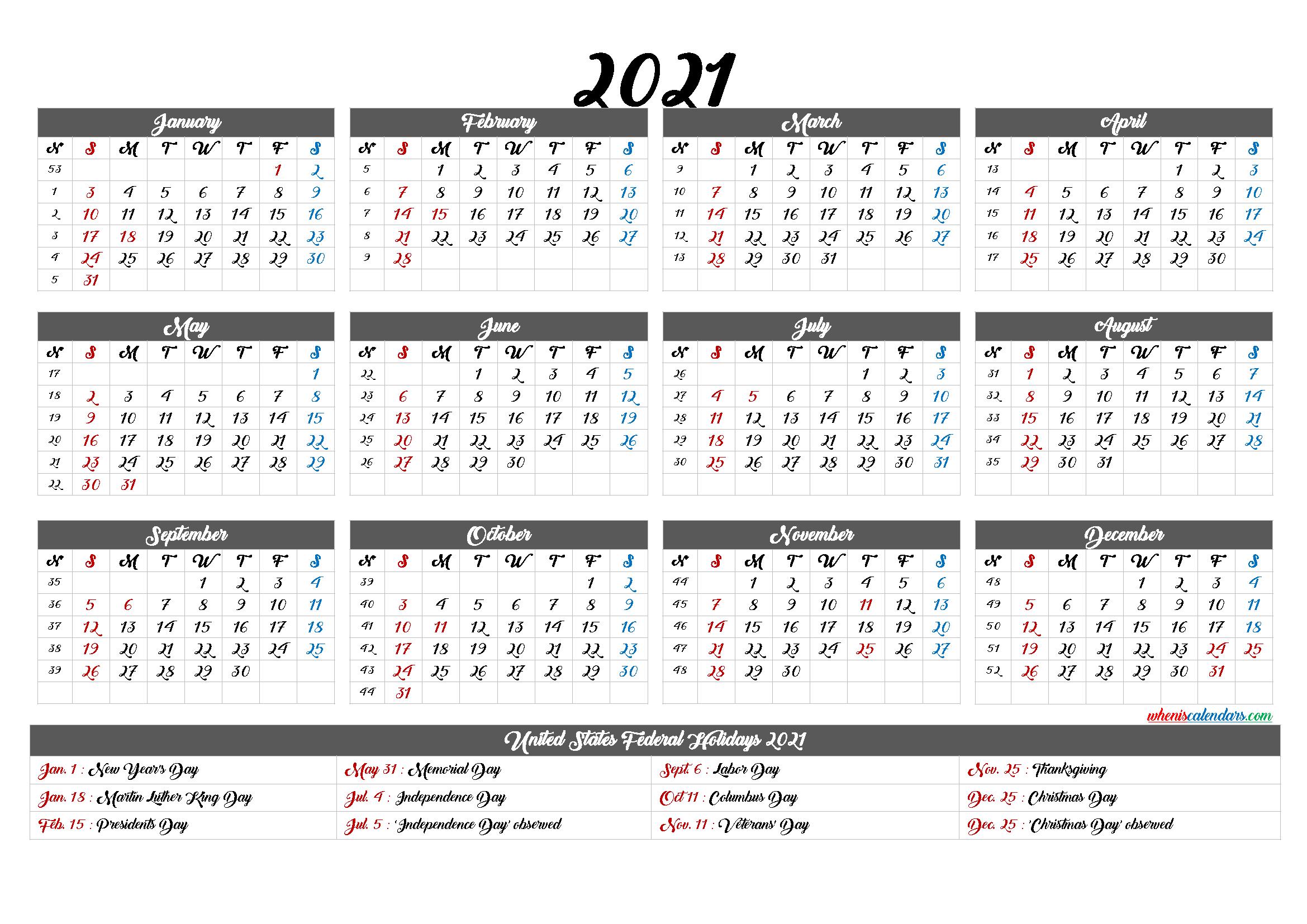 Fill In 2021 Calendar