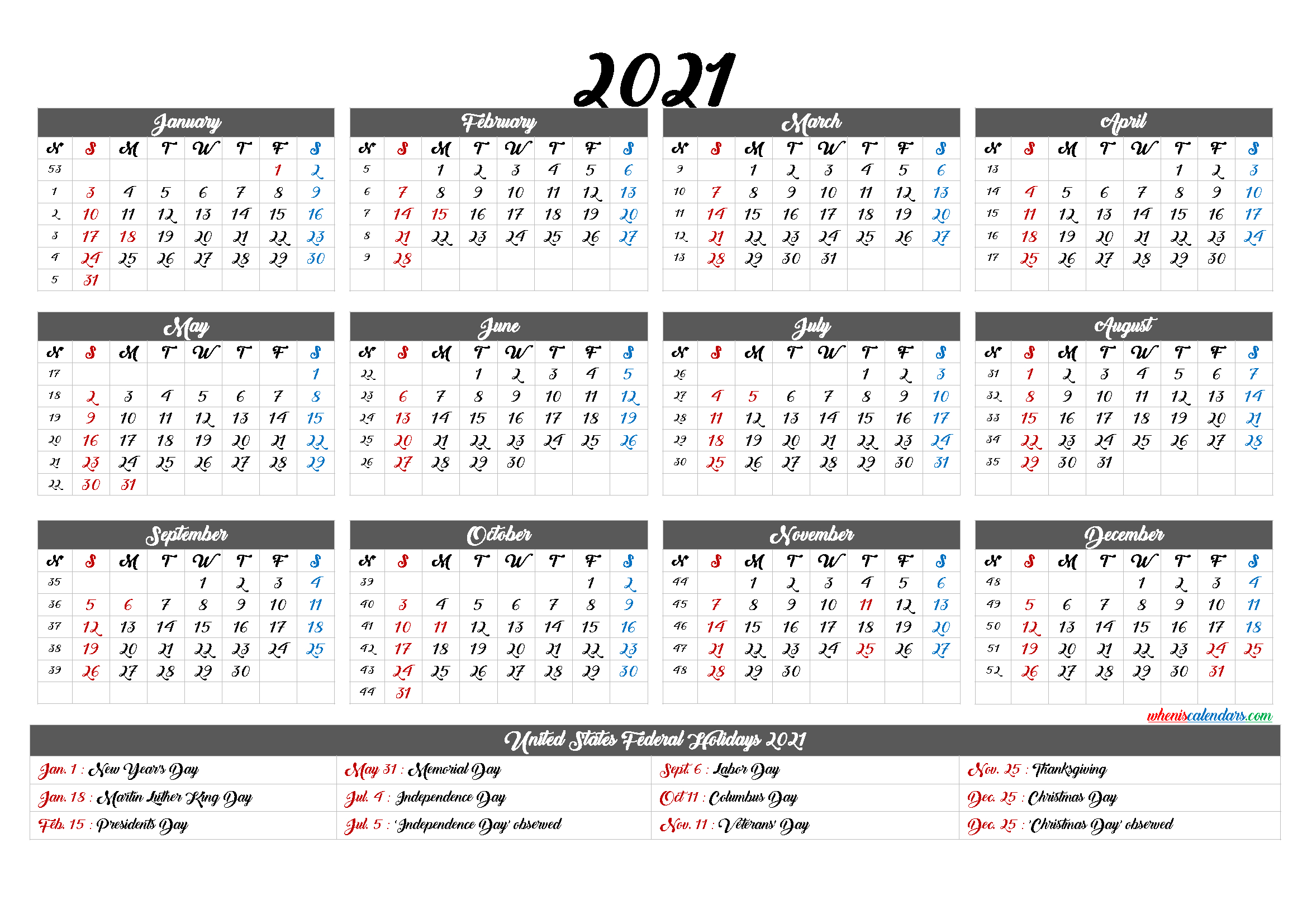 Free Printable 2021 Calendar With Holidays - 12 Templates