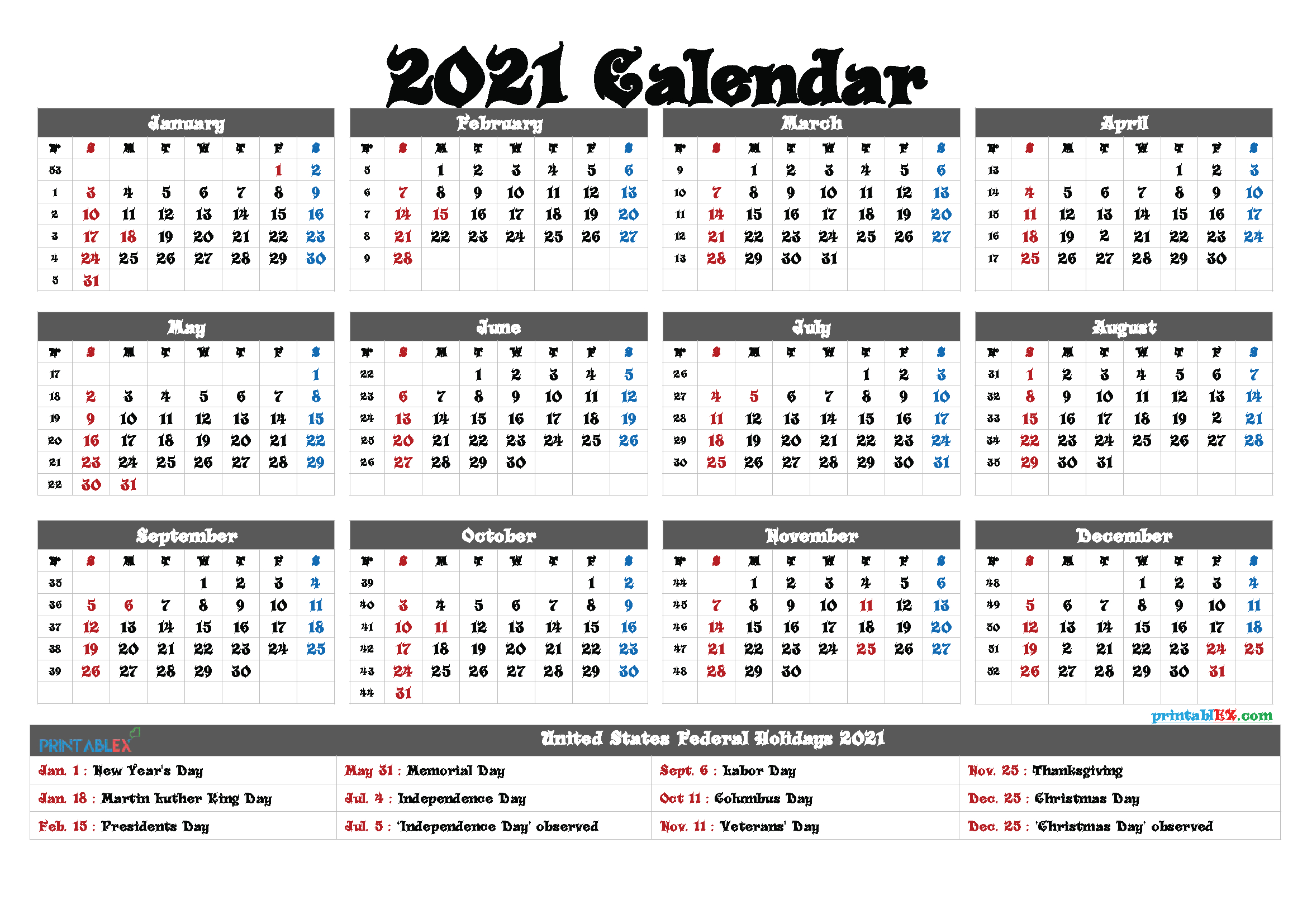 Free Printable 2021 Yearly Calendar Pdf And Png – Free