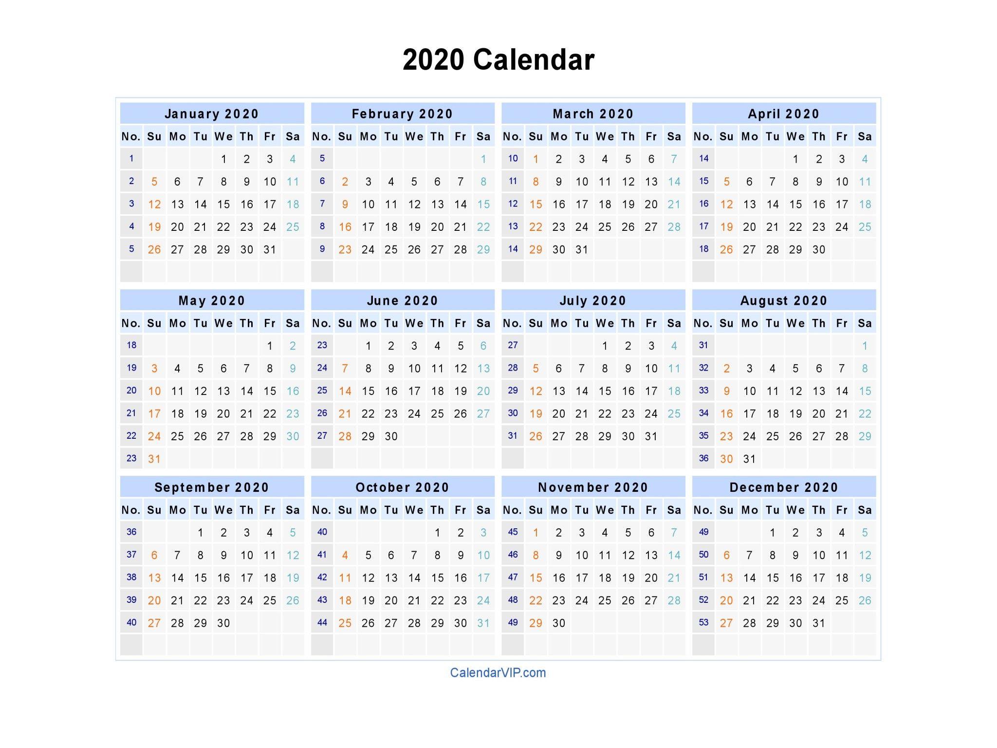 Free Printable Calendar 2020 Weekly