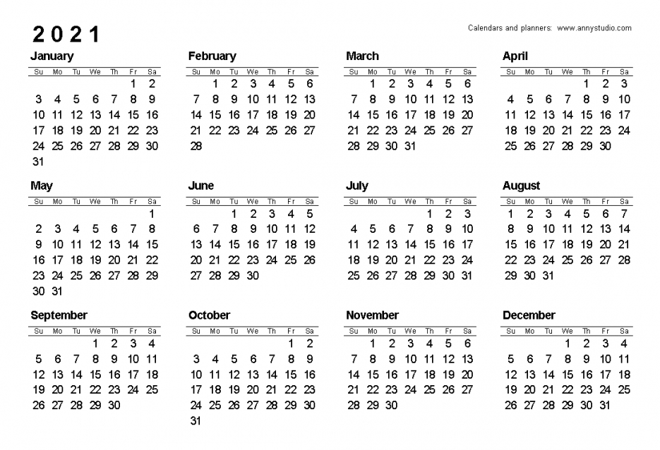 Free Printable Calendar 2021 Uk