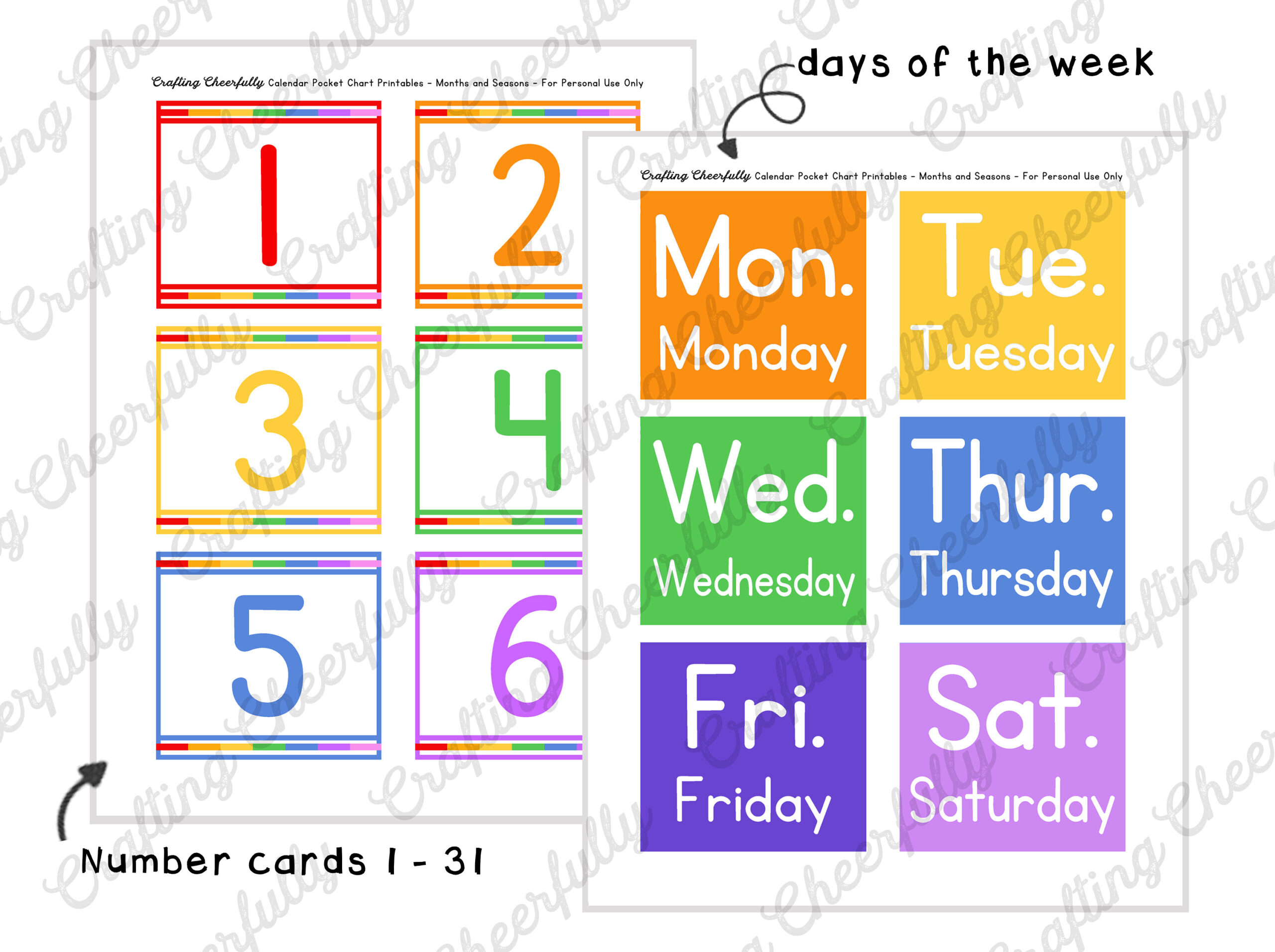 Free Printable Calendar Numbers For Pocket Chart