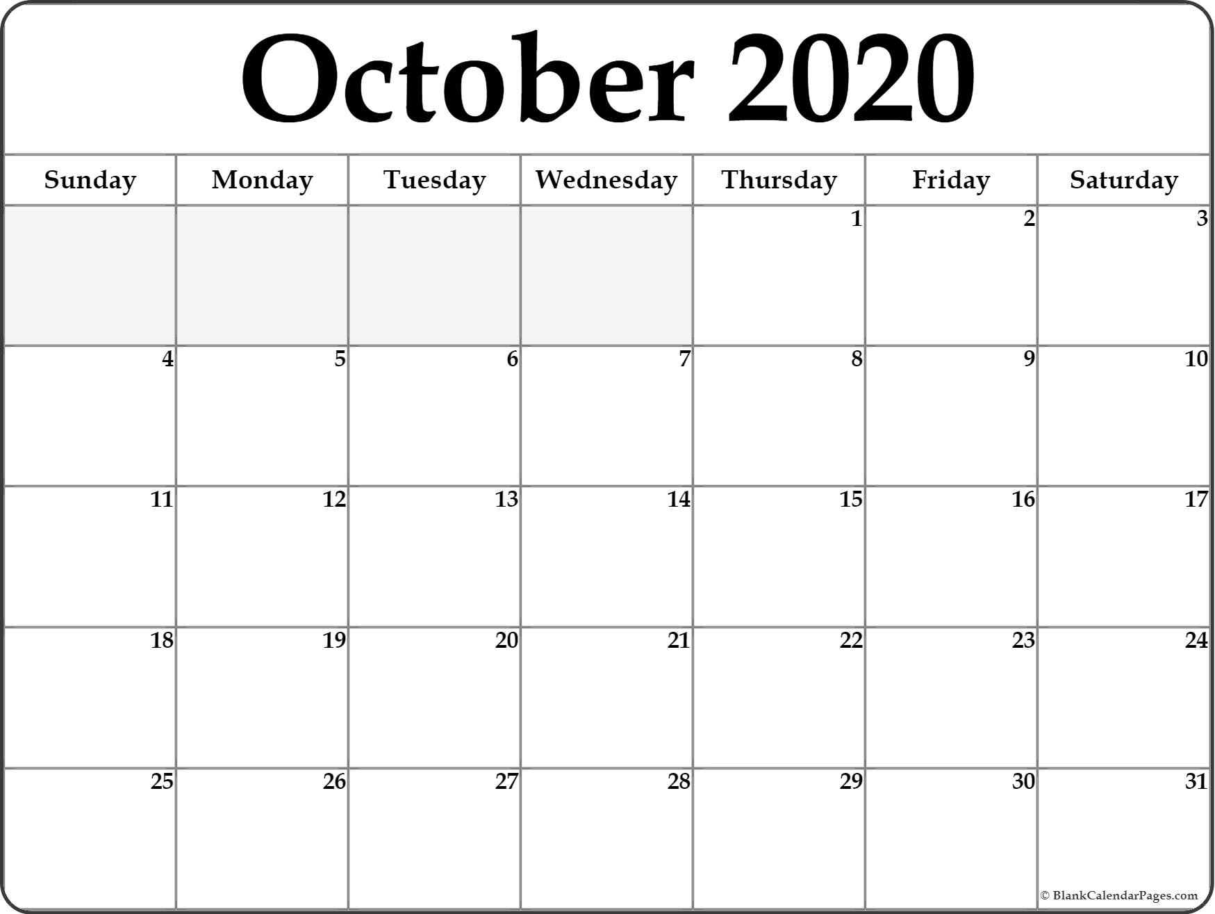 Free Printable Calendar Page October 2020 | Month Calendar