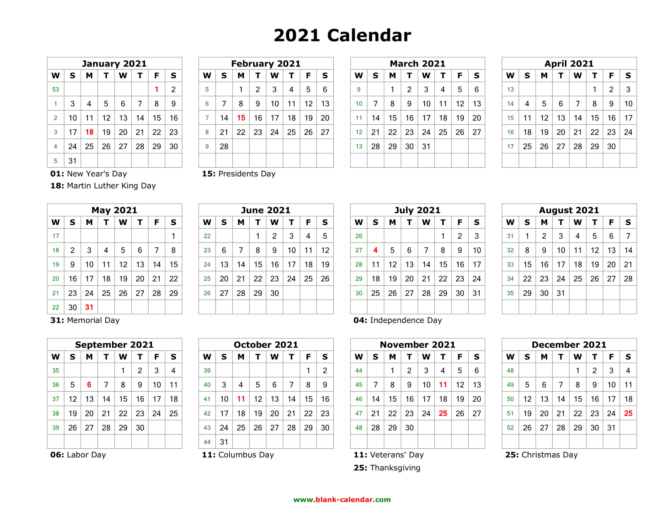Free Printable Calendar Year 2021 | Calendar Printables