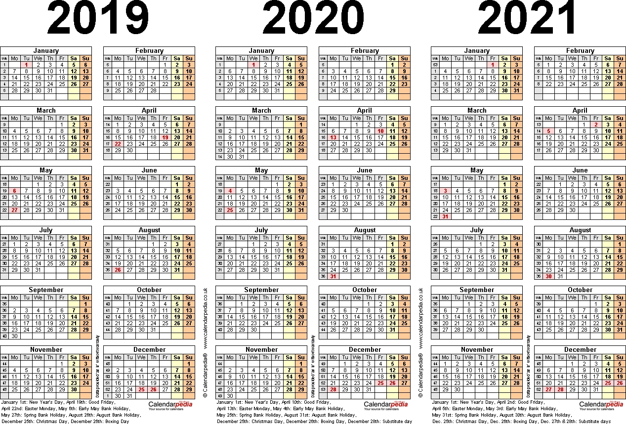 Free Printable Calendars 3 Year | Ten Free Printable