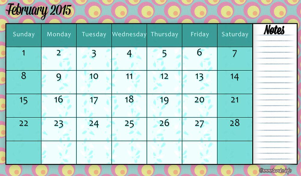 Free Printable February 2015 Calendar Blank | August 2014