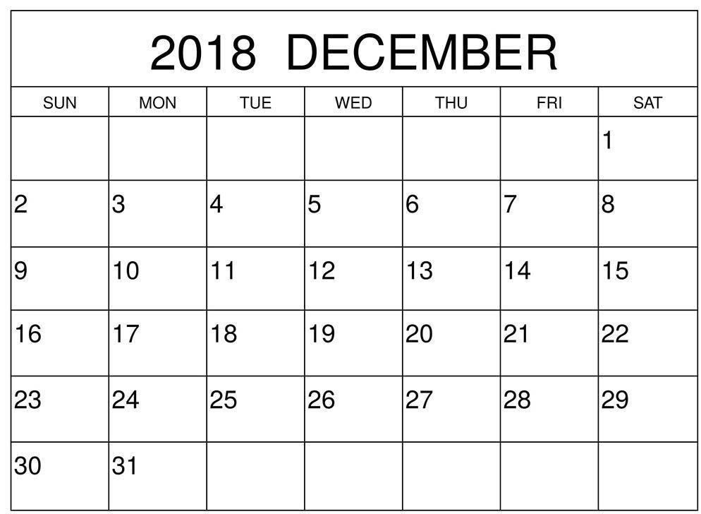 Free Printable Large Number Calendar December 2018 Grid