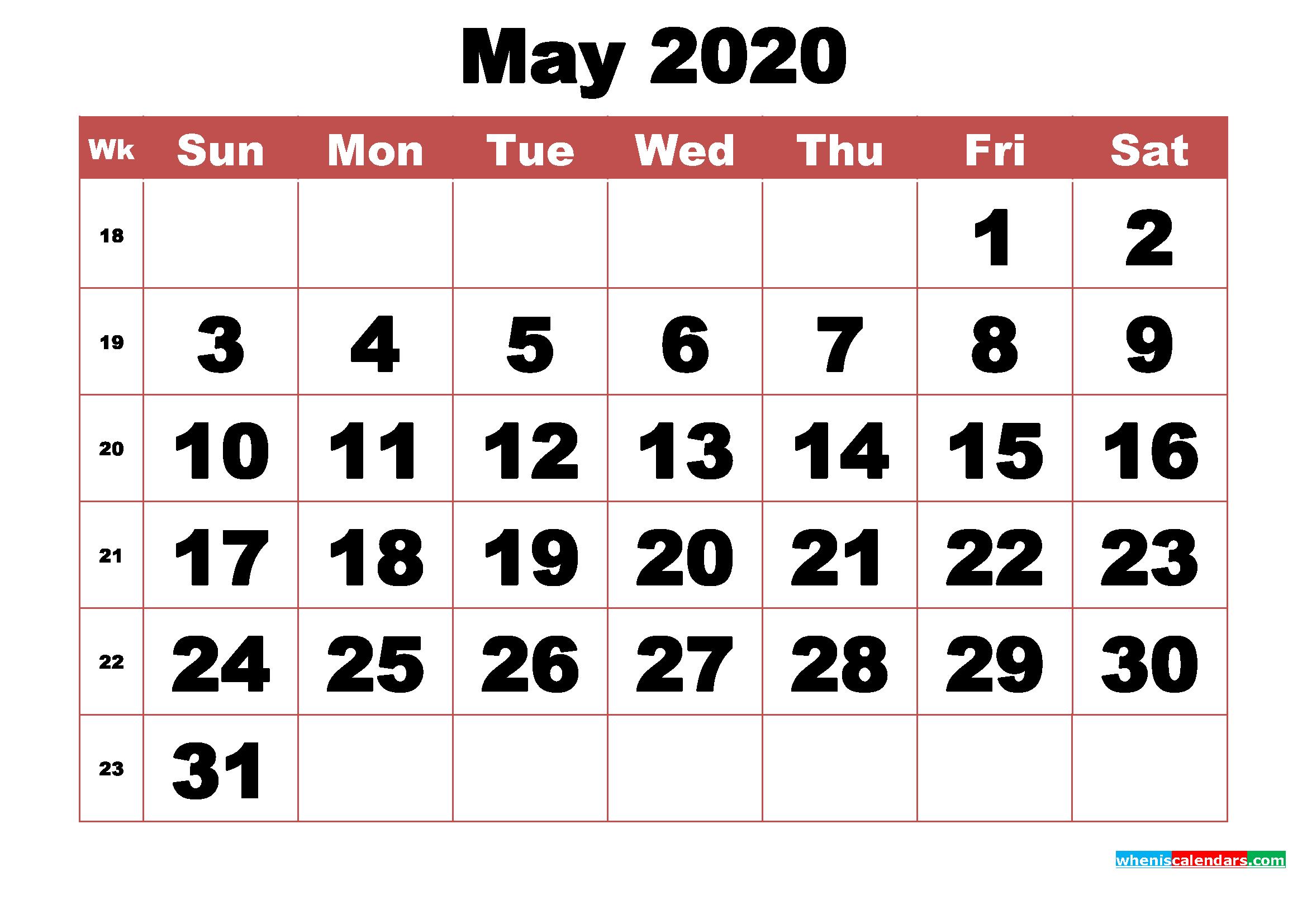 Free Printable May 2020 Calendar With Week Numbers – Free