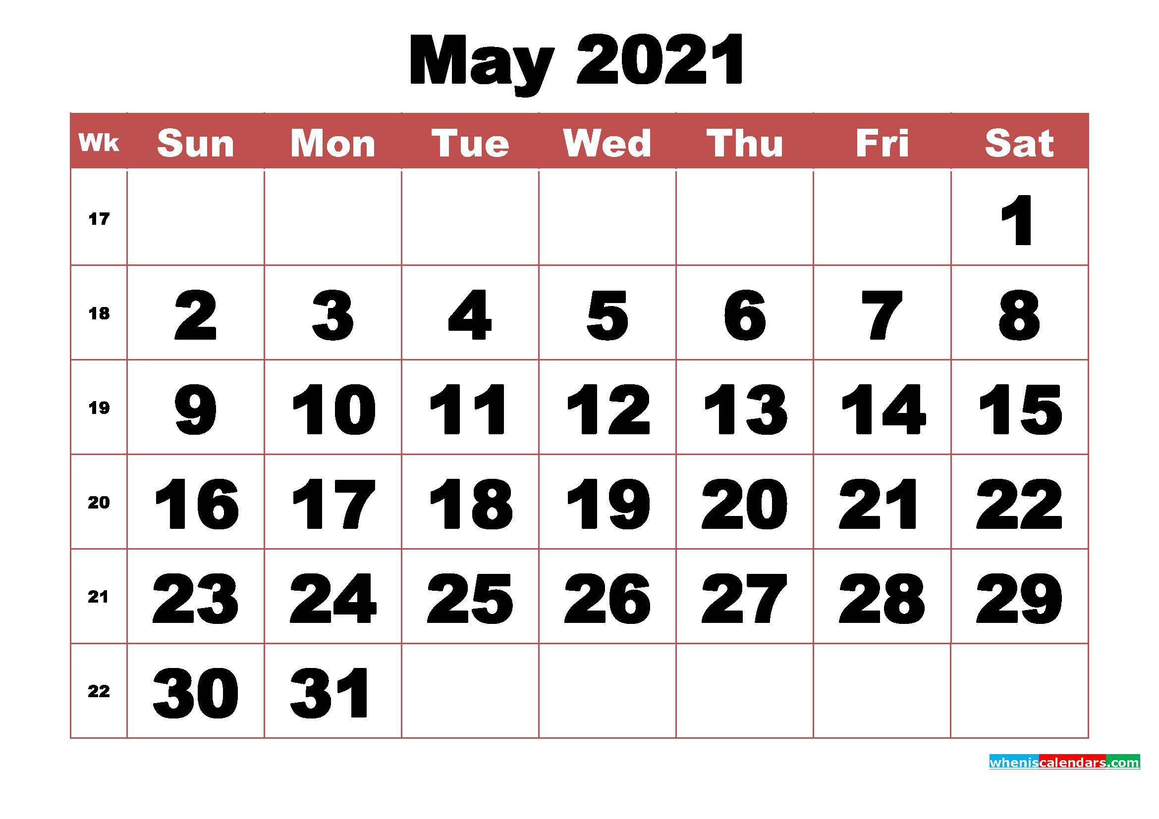Free Printable May 2021 Calendar With Week Numbers | Free