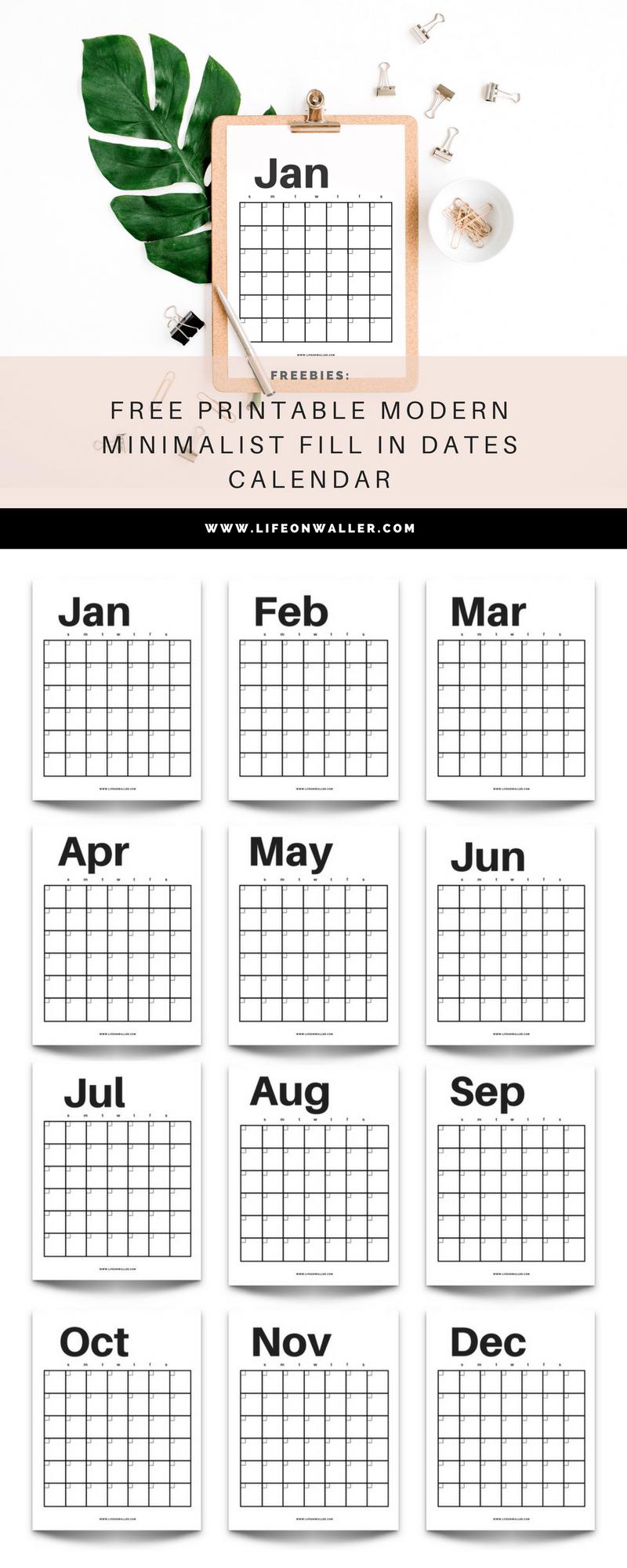 Free Printable Modern Minimalist Fill In Calendar - Use