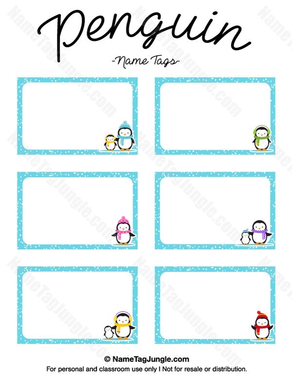 Free Printable Penguin Name Tags. The Template Can Also Be