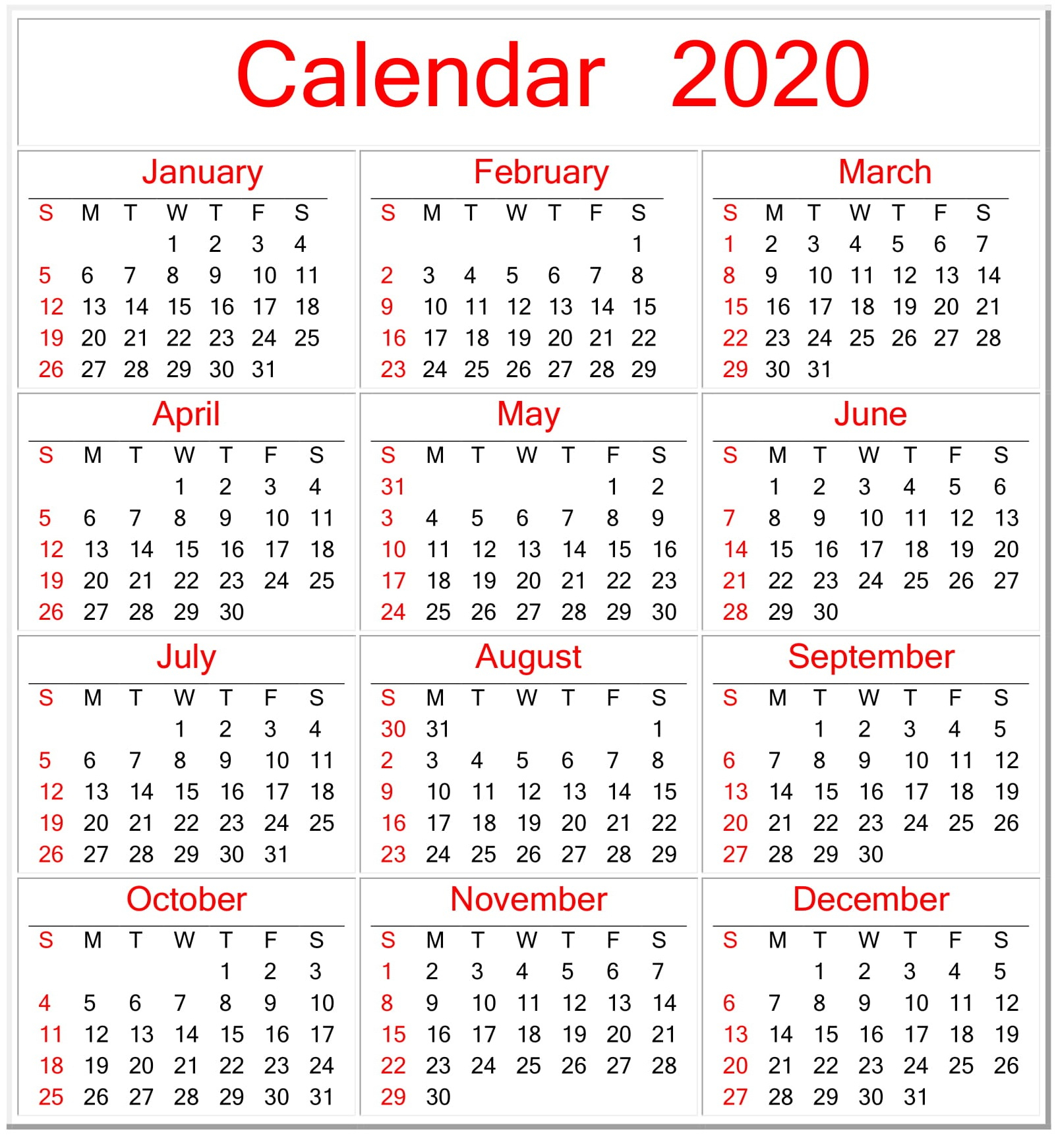 Free Printable Pocket Calendars 2020 | Calendar Template