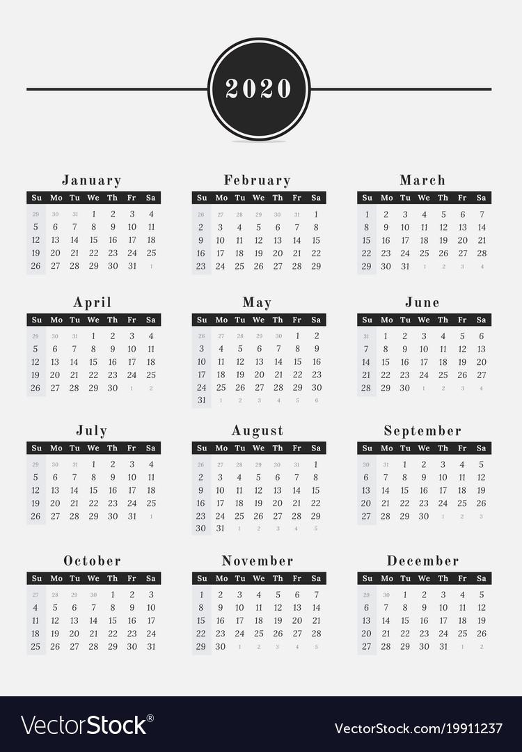 Free Printable Vertical Calendar 2020 | Month Calendar