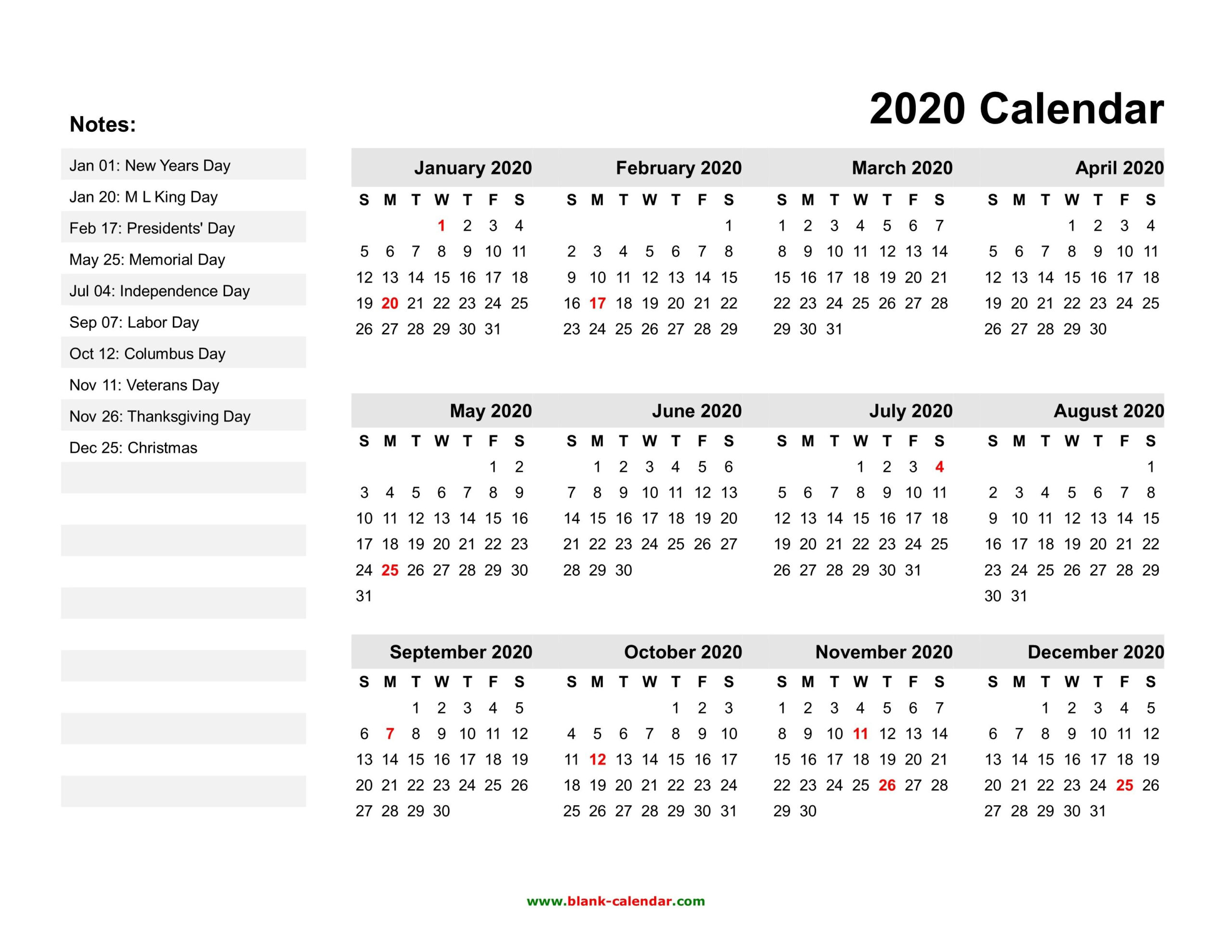 Free Printable Yearly Calendar 2020 With Holidays