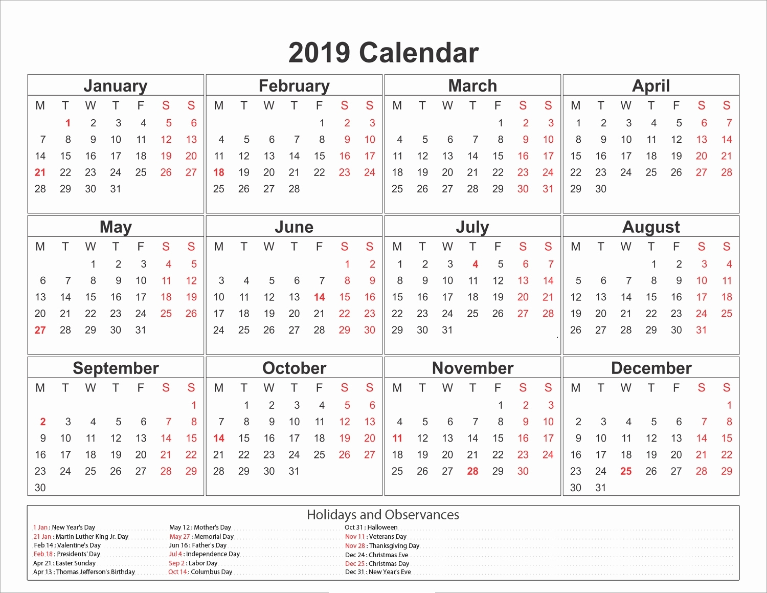 Get 2019 Blank Calendar Print-Outs Fill In With Holidays