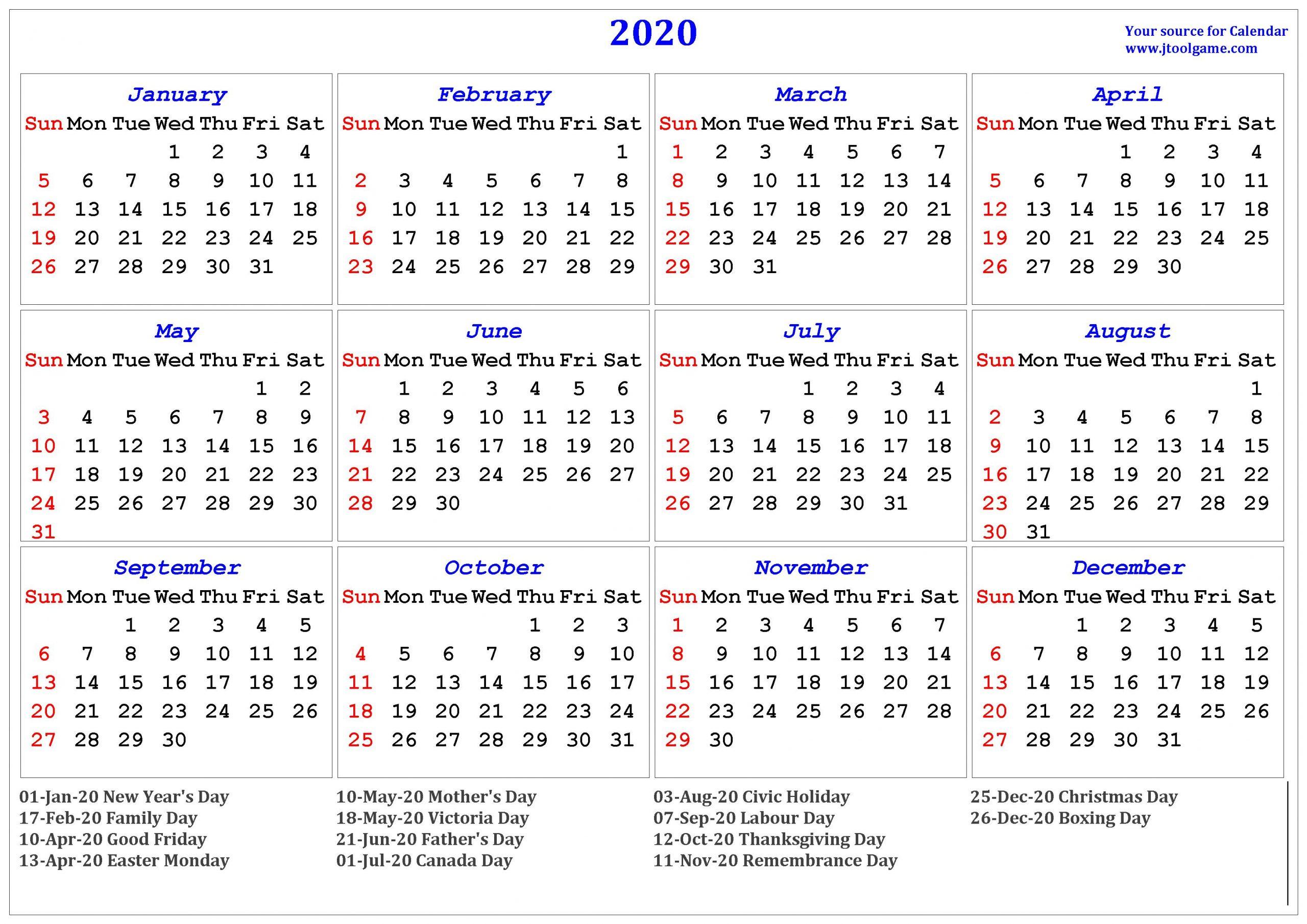 Get 2020 Calendar Printable One Page | Calendar Printables