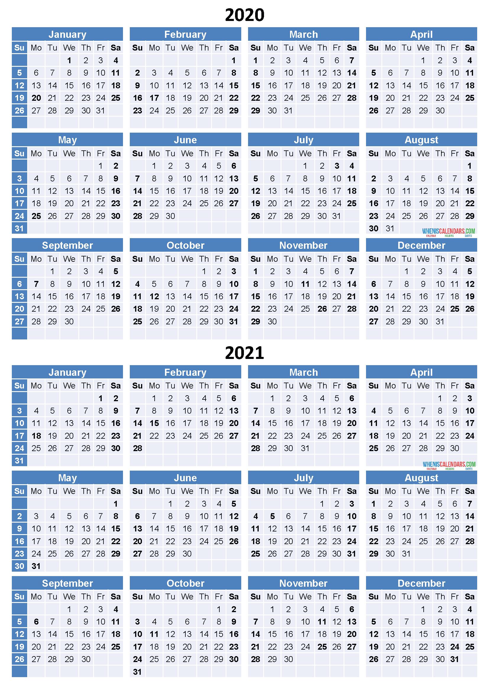 Get Free 2 Year Calendar 2020-2021 | Calendar Printables