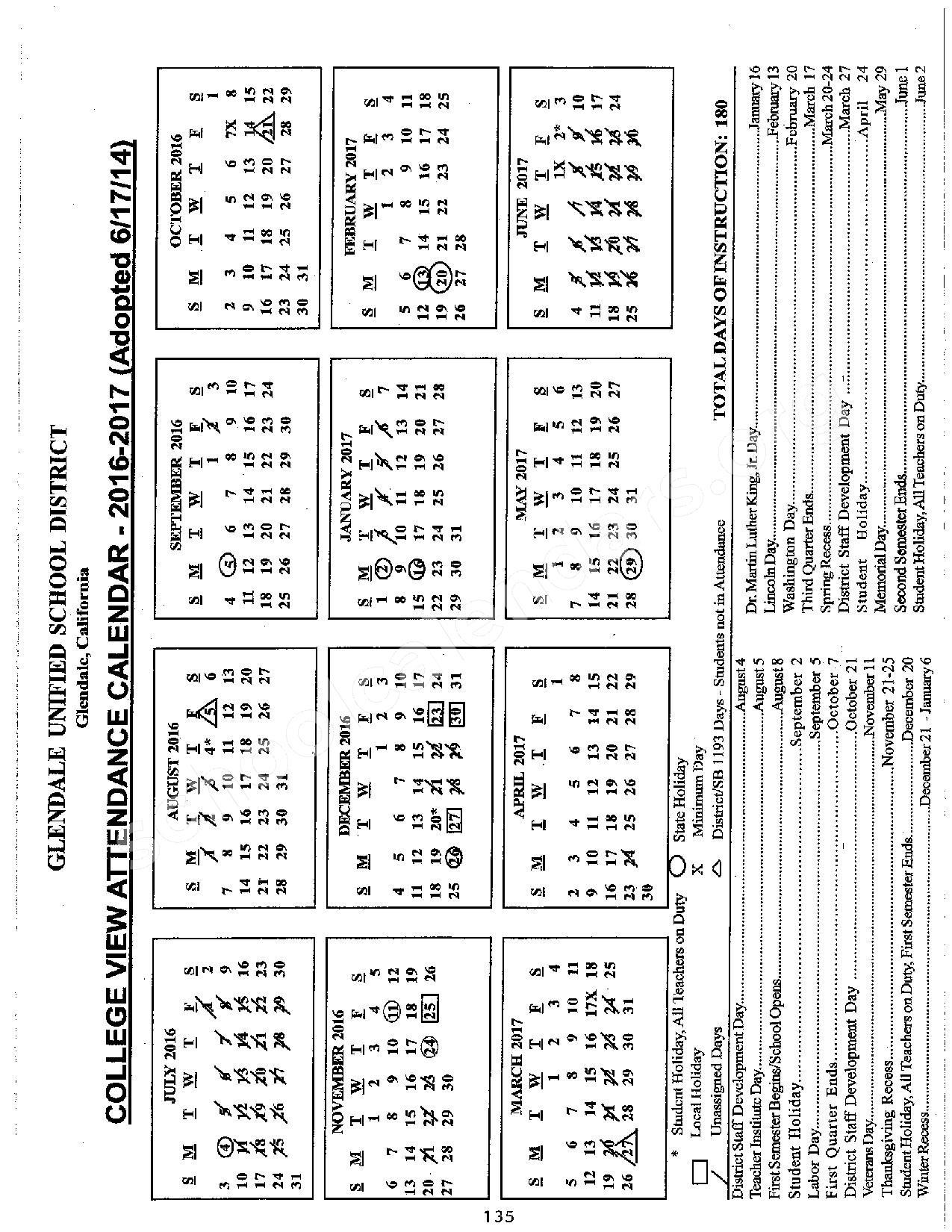 Glendale Unified School District Calendar | Calendar Fall 2020