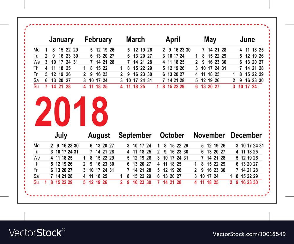 Grid Pocket Calendar 2018 Royalty Free Vector Image