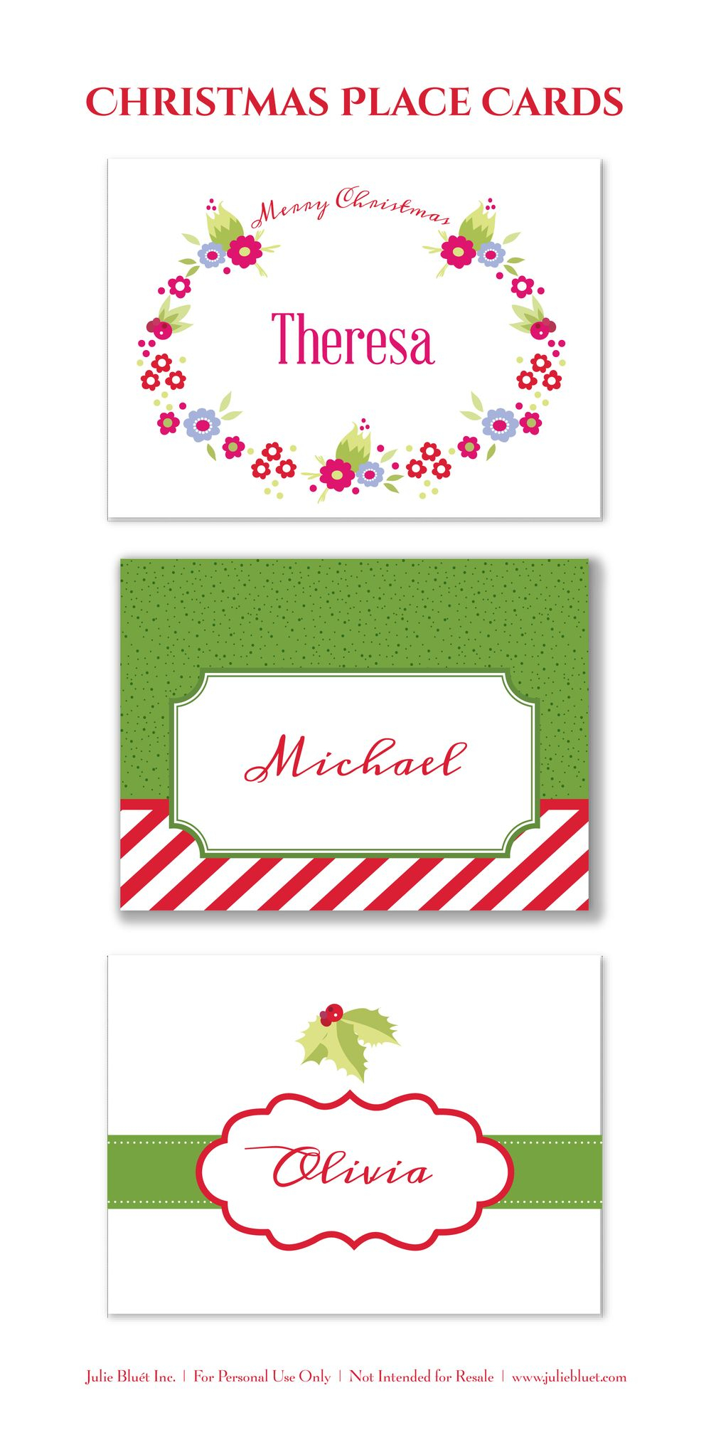 Here Are Three Free Printable Christmas Place Cards For