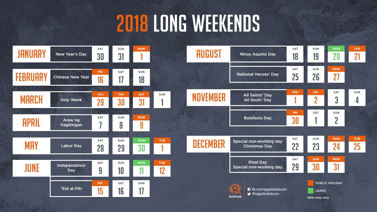Holiday In October 2018 Philippines – Template Calendar Design