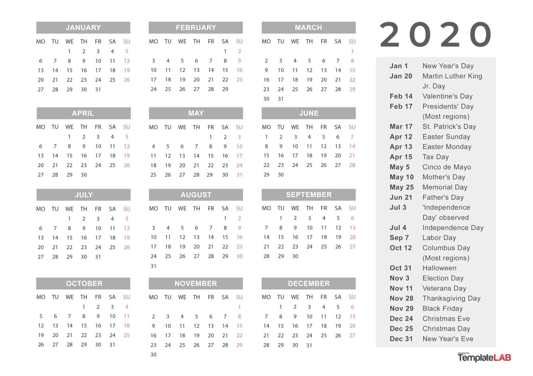 Incredible 2020 Calendar With Date Boxes And Holidays In