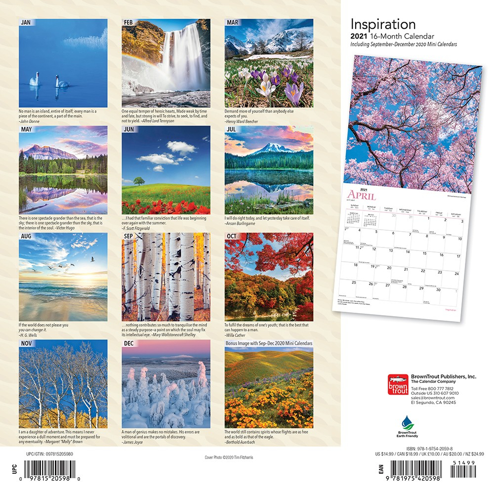 Inspiration 2021 12 X 12 Inch Monthly Square Wall Calendar