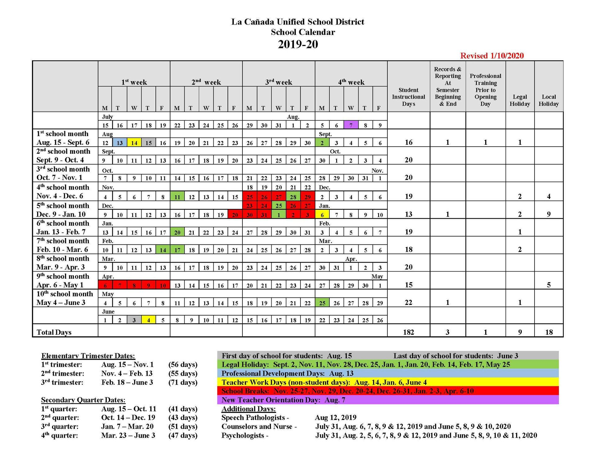 Instructional Days Calendars – Yearly Calendars – La
