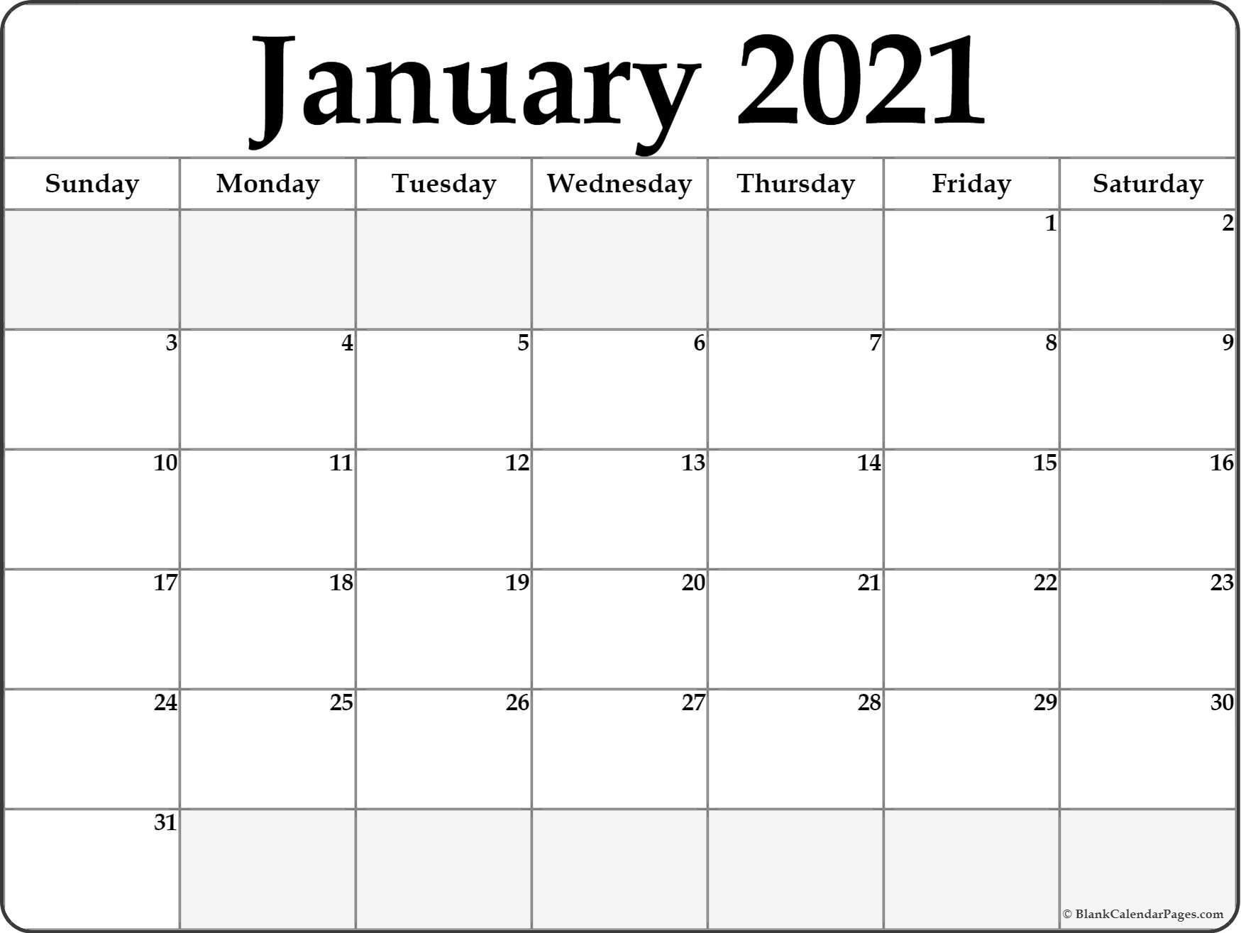 January 2021 Blank Calendar Collection.