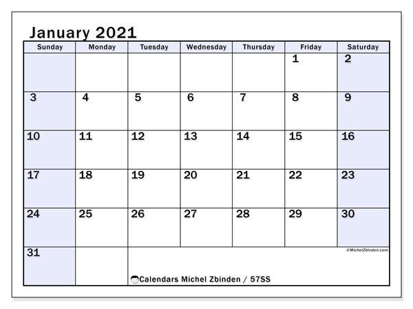 January 2021 Calendar (57Ss) - Michel Zbinden En