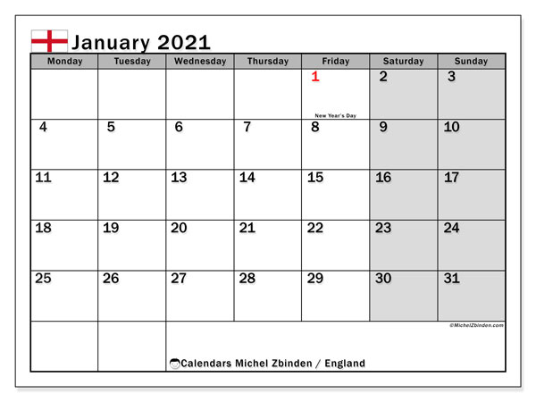 January 2021 Calendar, England (Uk) - Michel Zbinden En