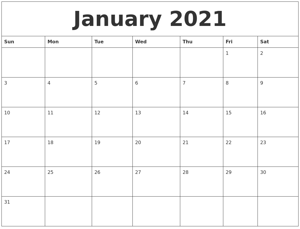 January 2021 Calendar Pages