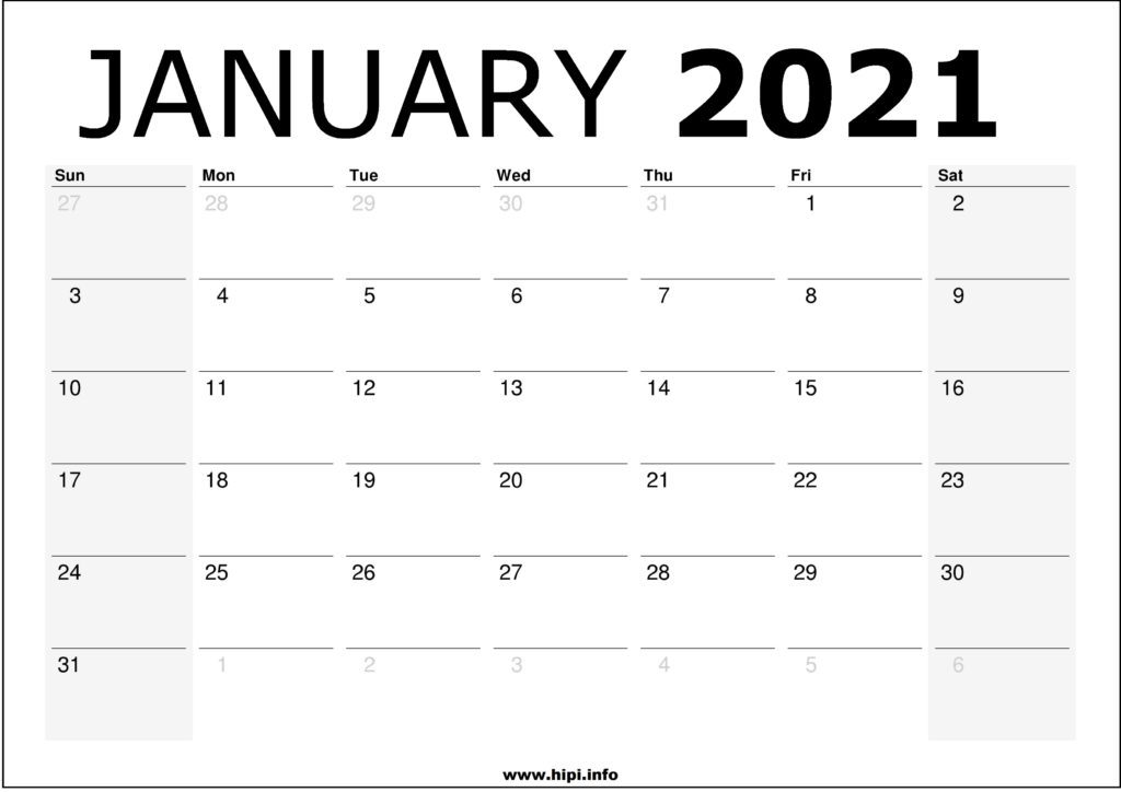 January 2021 Calendar Printable – Monthly Calendar Free