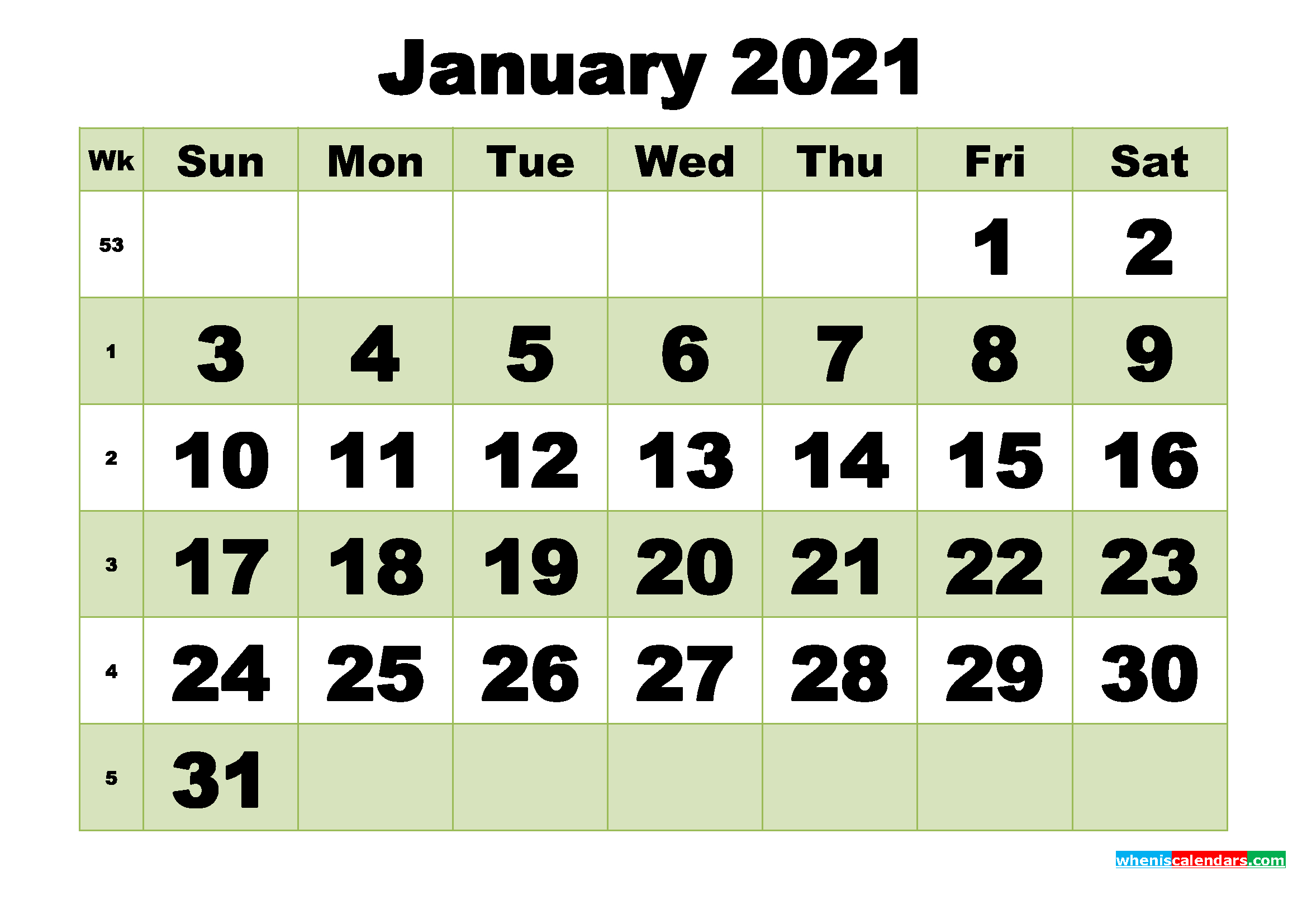 January 2021 Printable Calendar Template – Free Printable