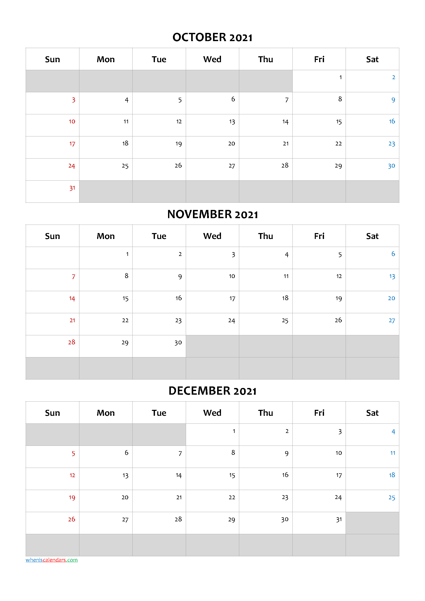 January February March 2021 Calendar Template [Q1-Q2-Q3-Q4