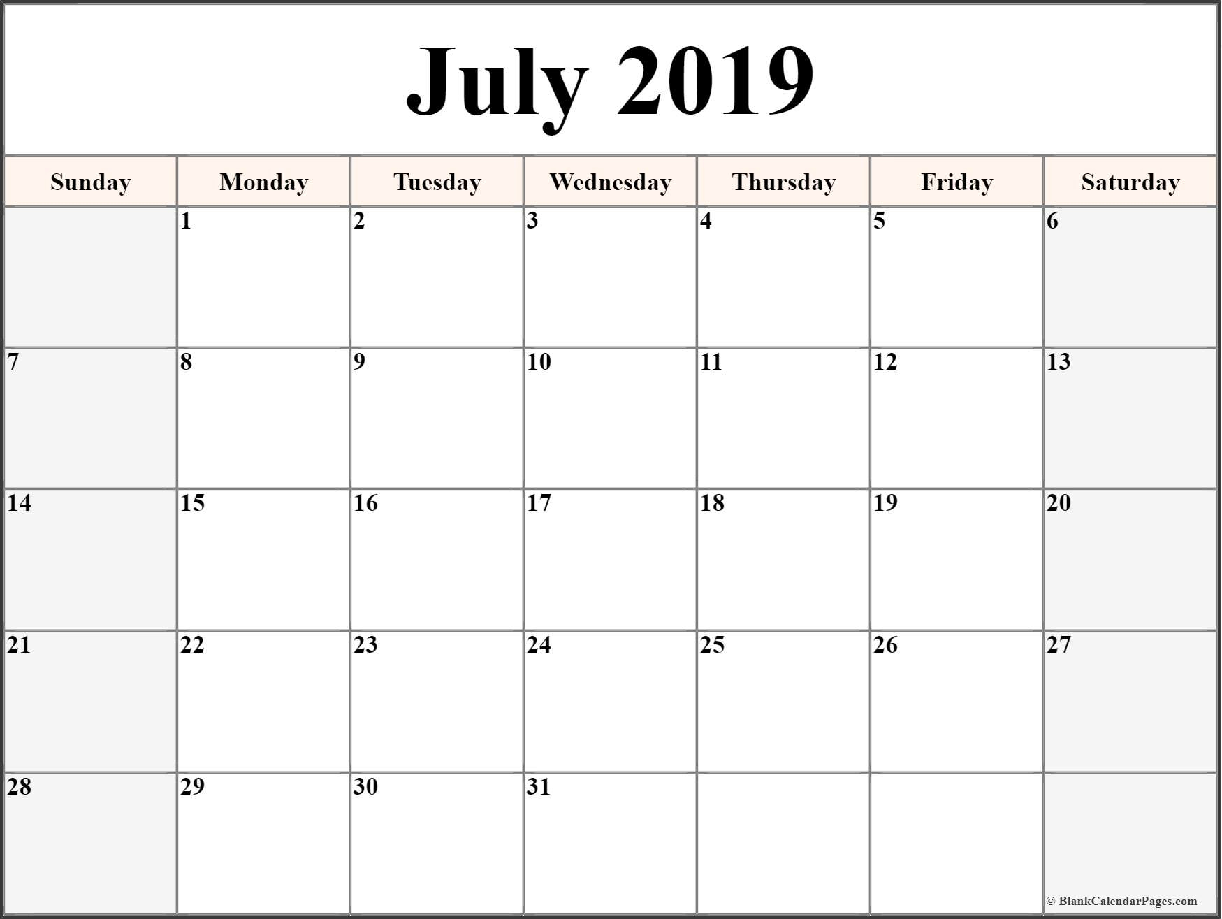 July 2019 Blank Calendar Collection.