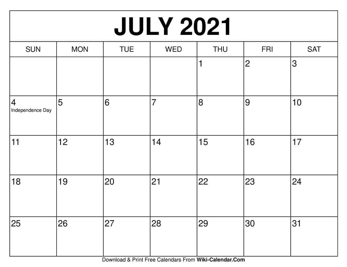 July 2021 Calendar - Free Download Printable Calendar