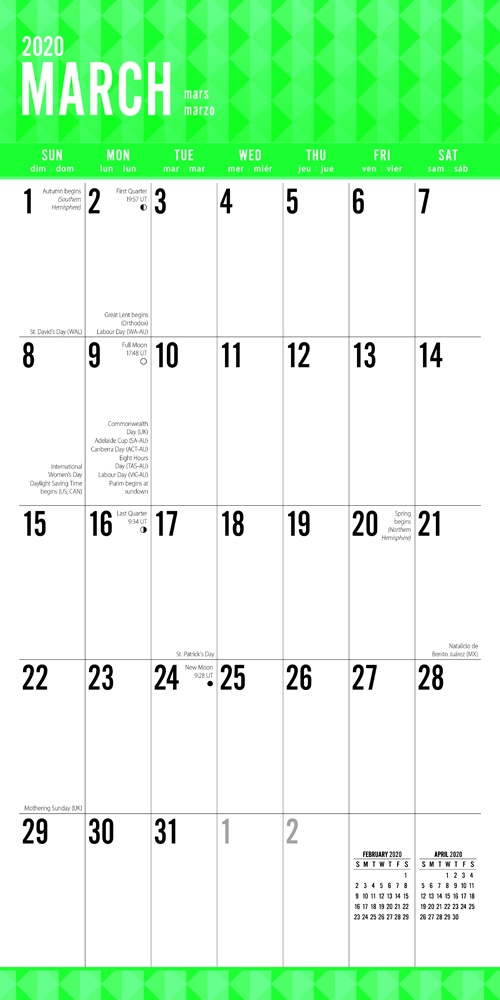 Jumbo Grid Large Print 2020 Square Wall Calendar By Plato