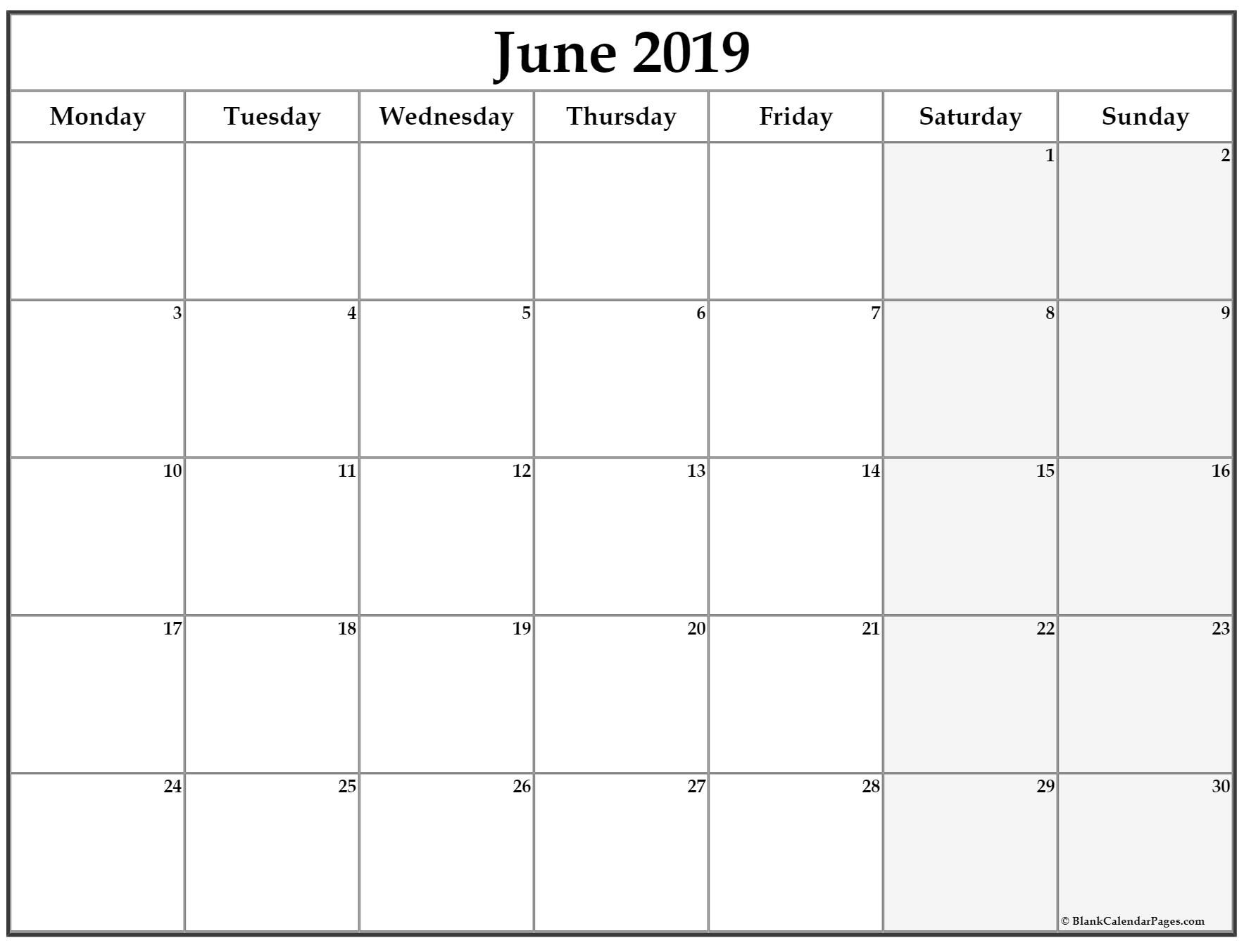 June 2019 Monday Calendar. Monday To Sunday | Calendar