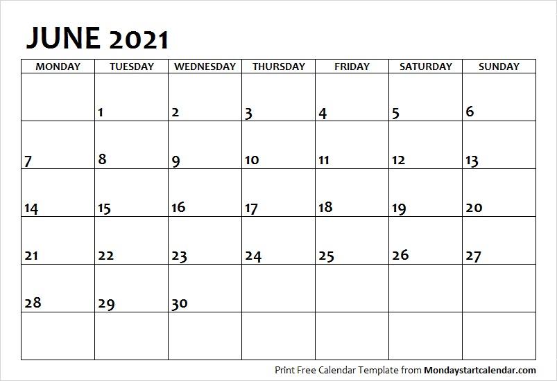 June 2021 Calendar Monday Start | June Month Template