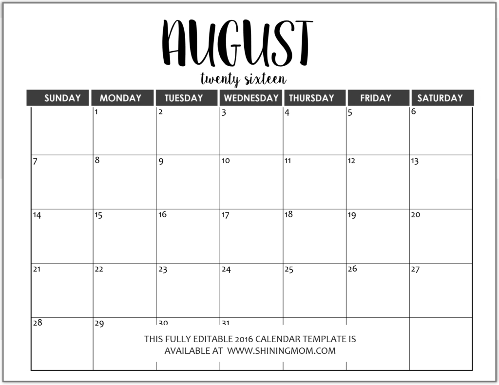 Just In: Fully Editable 2016 Calendar Templates In Ms Word