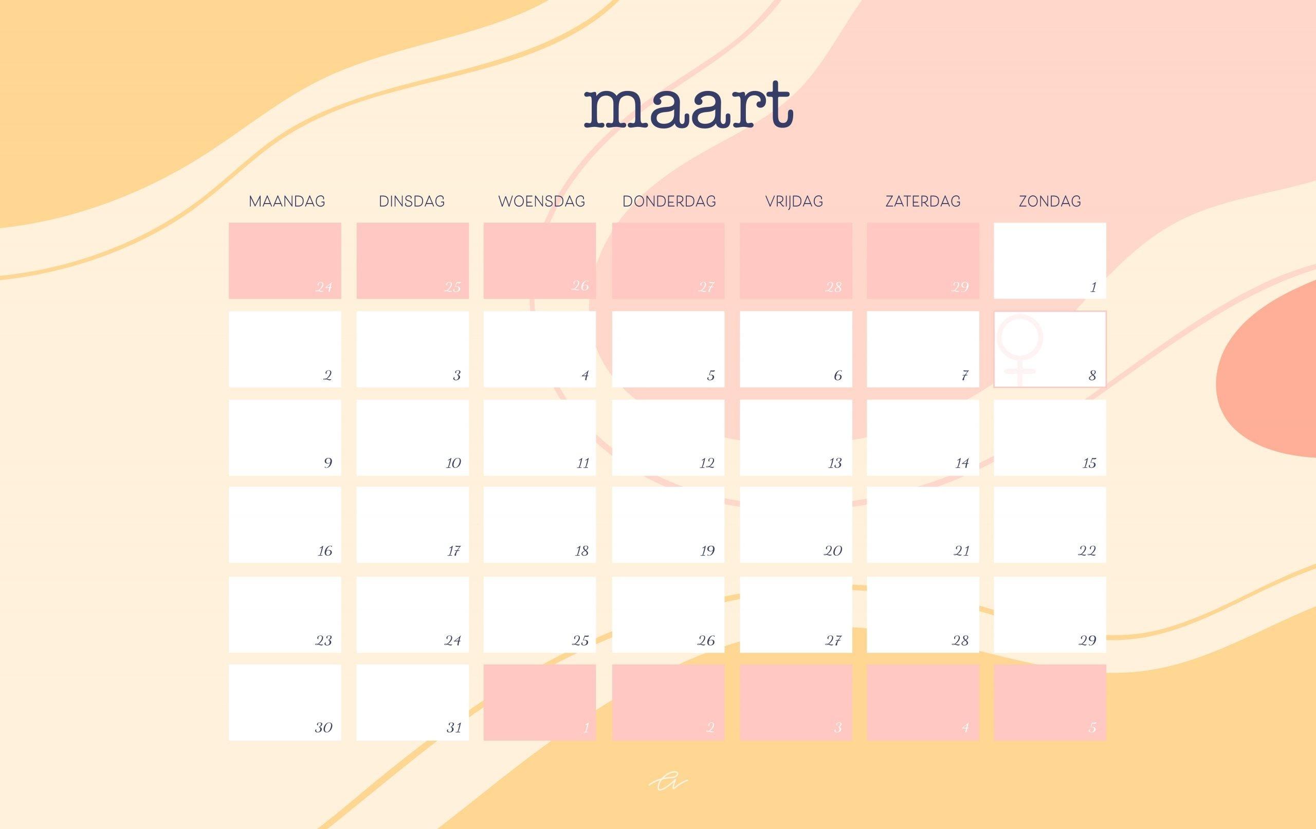 Kalender Maart 2020 – Template Calendar Design