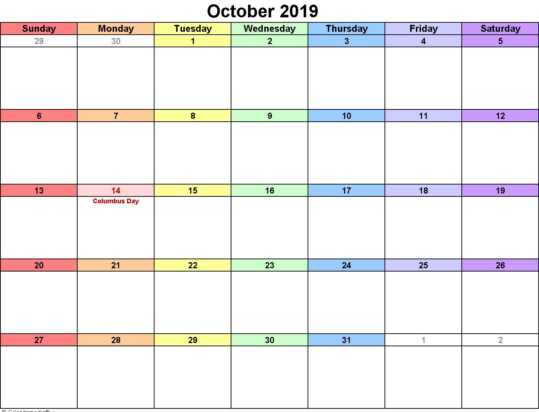 Landscape October 2019 Calendar Template | Editable